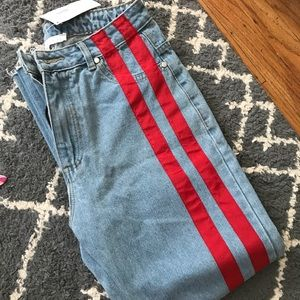 Denim - jeans with red stripe down one leg